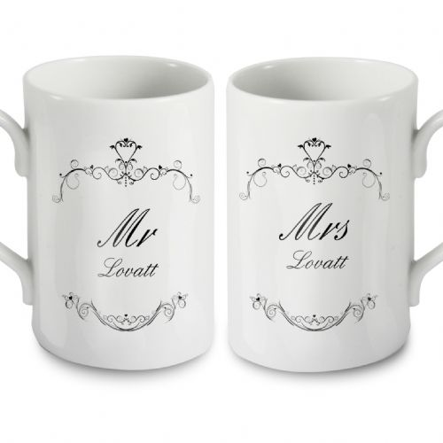 Personalised Ornate Swirl Mug Set (Any Titles)